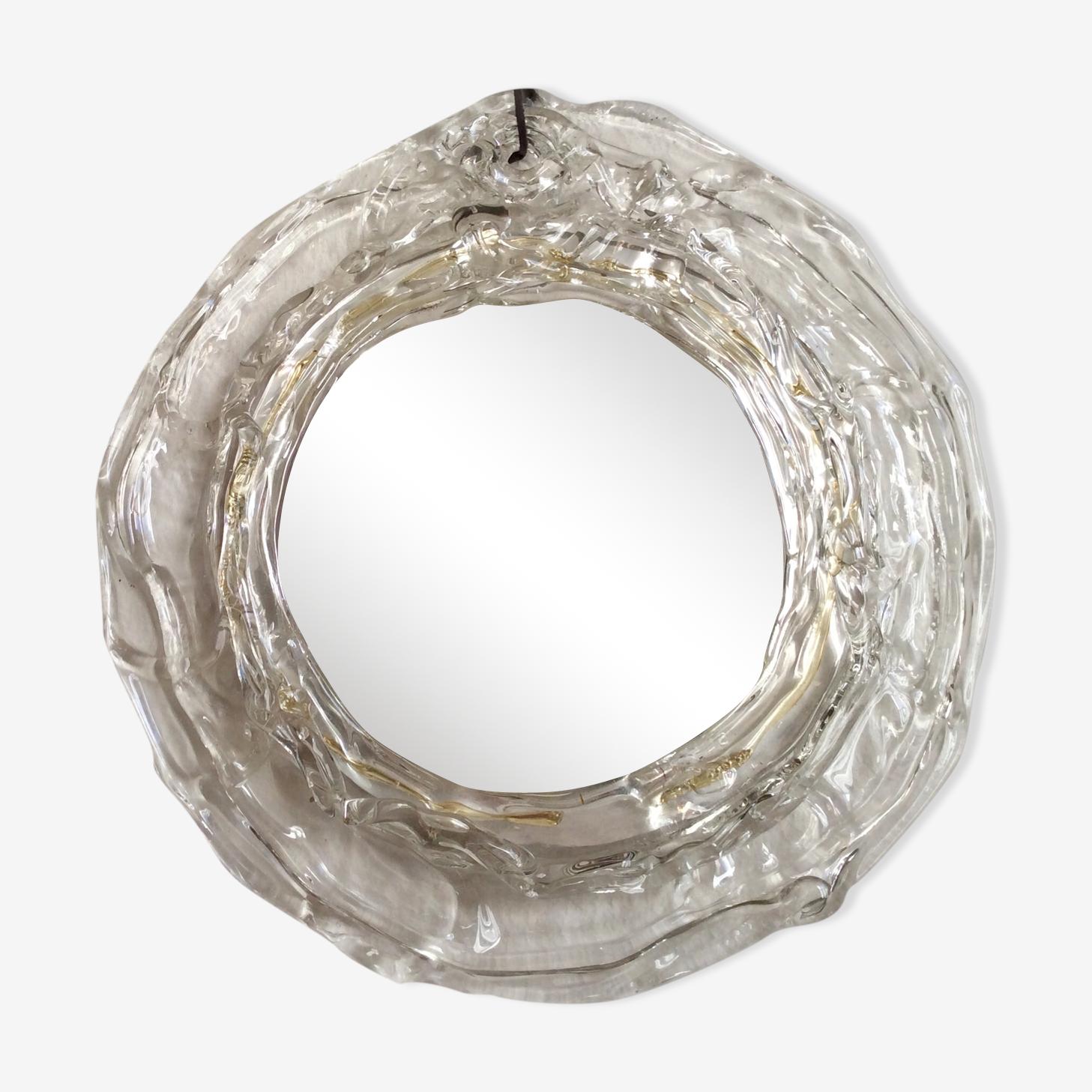 Miroir rond avec cadre en verre, années 80, 28cm