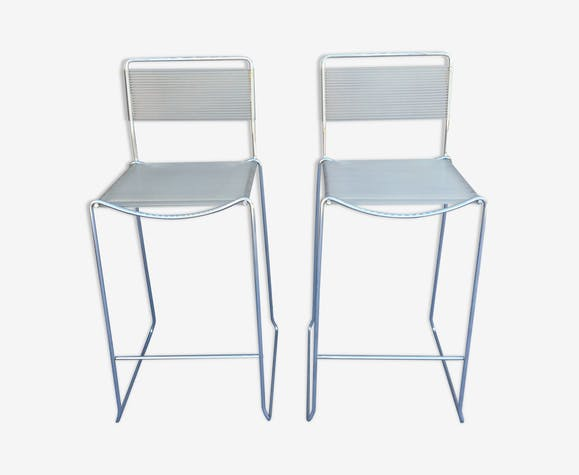 Pair of bar top stools with backsplashes