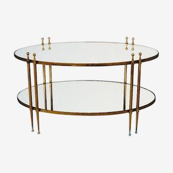 Table à thé style 1940 bronze et miroir