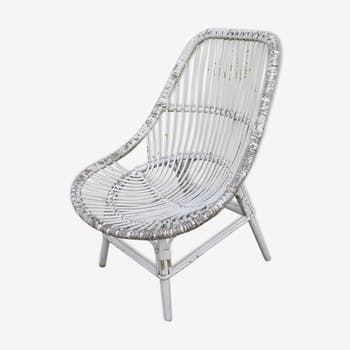 1950/60 paint upon white rattan armchair