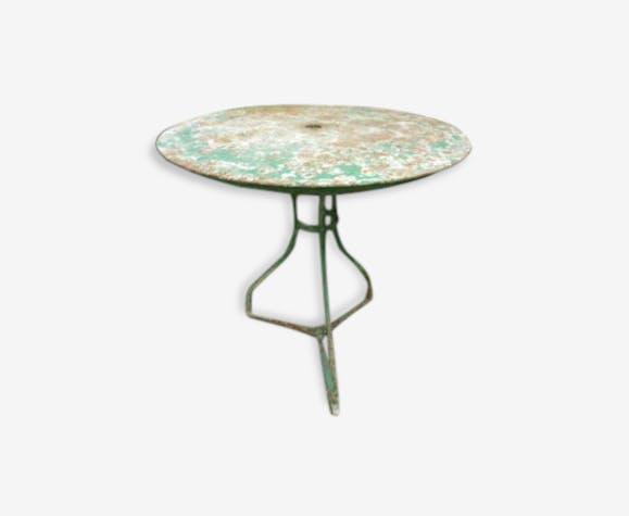 Ancienne table ronde de jardin verte métal - fer - vert - industriel ...