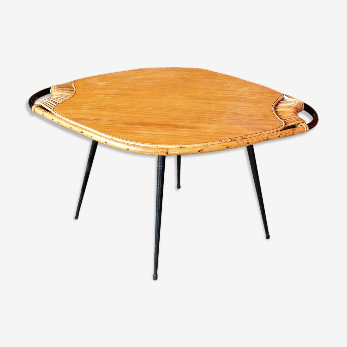 Table basse chêne et rotin