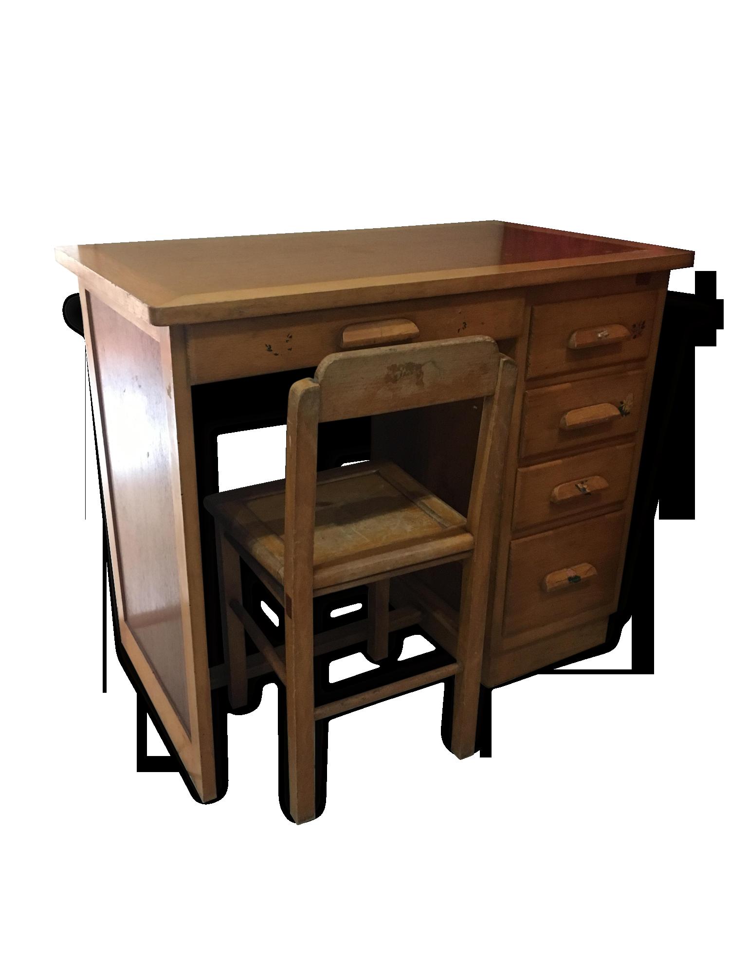 Bureau enfant forbo et sa chaise bois matériau jaune