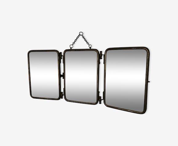 Miroir triptyque barbier 22 x 51 cm vintage 1930 - métal ...