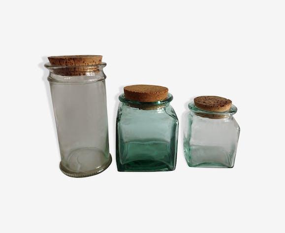 Lot de 3 bocaux verre épais