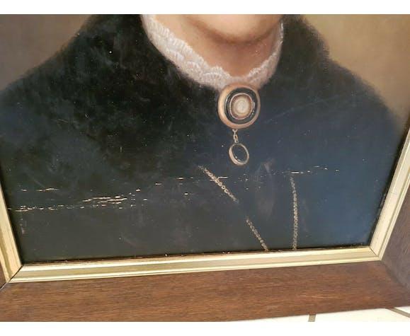 Portrait ancien de femme huile sur toile époque XIX ème