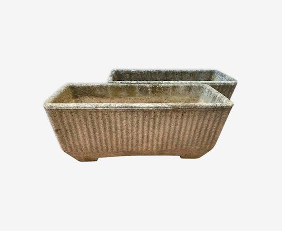 Paire de jardinière en ciment cannelé