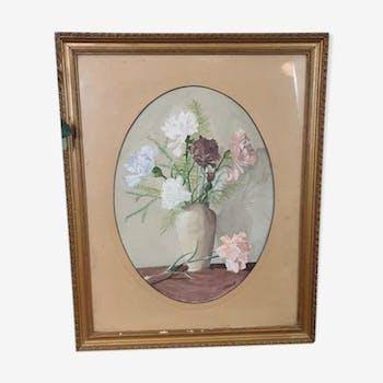 Tableau ancien bouquet de pivoines
