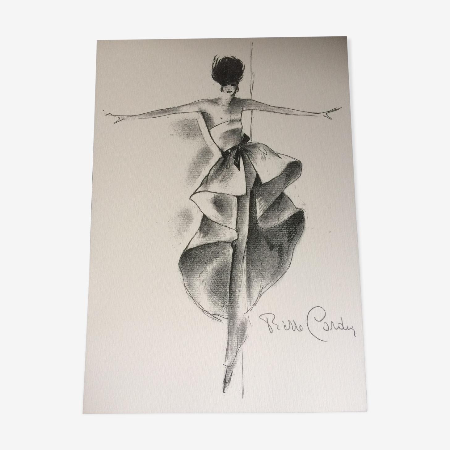 Illustration de mode de presse Pierre Cardin époque fin des années 80