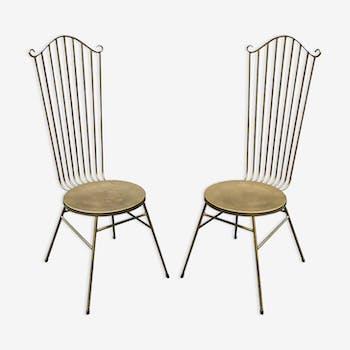 Paire de chaises en laiton