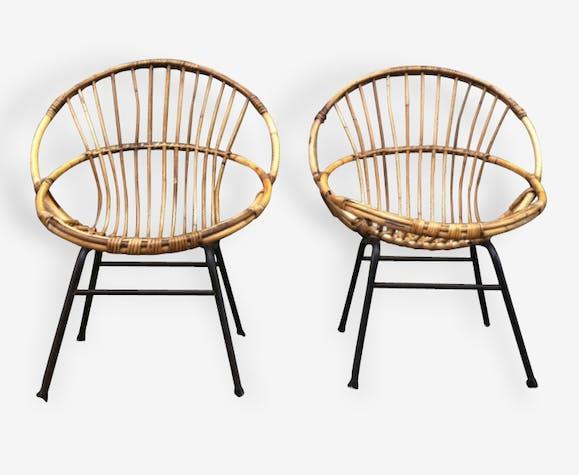 Superbe fauteuil corbeille adulte rotin bambou 1950