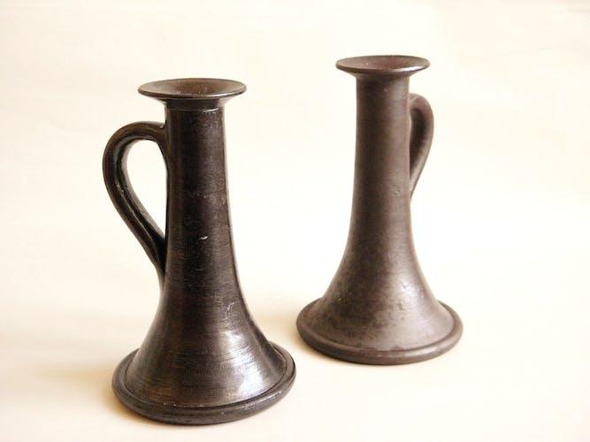 Pair of candlesticks in glazed stoneware
