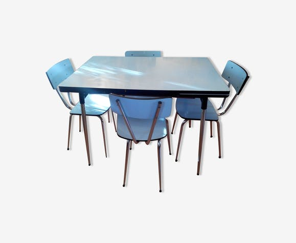 Table And Chairs In Formica Formica Blue Vintage Sfyeqrn
