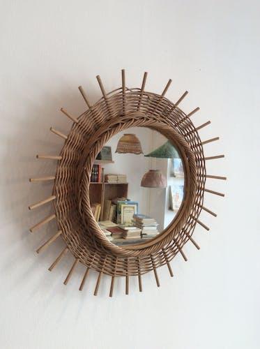 Miroir soleil vintage en rotin