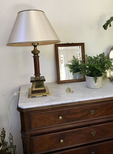 Vintage wood and brass lamp
