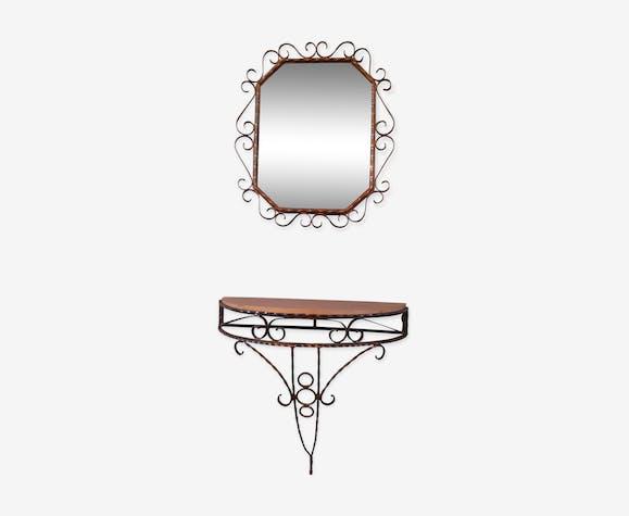 Console et miroir en fer forgé, des années 50