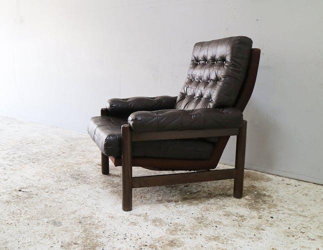 Fauteuil en cuir danois du milieu du siècle des années 1960