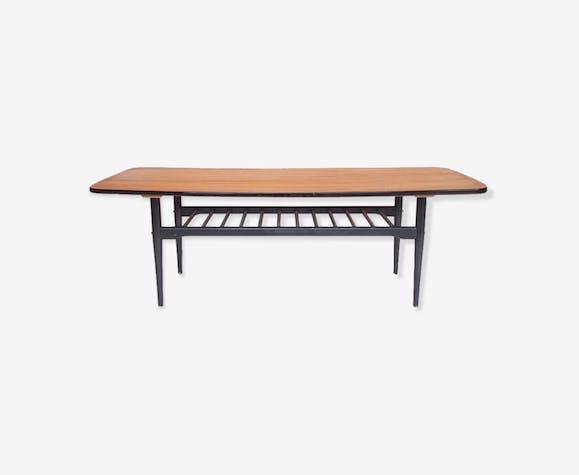 Table basse vintage, double plateau, bois noirci - bois ...
