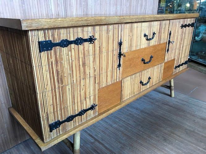 60s rattan and oak sideboard