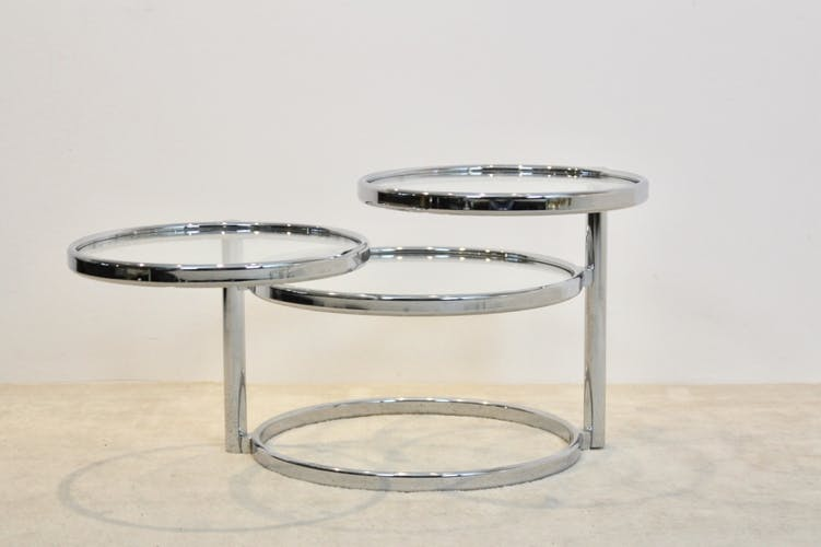 Chrome and glass three tier adjustable side table