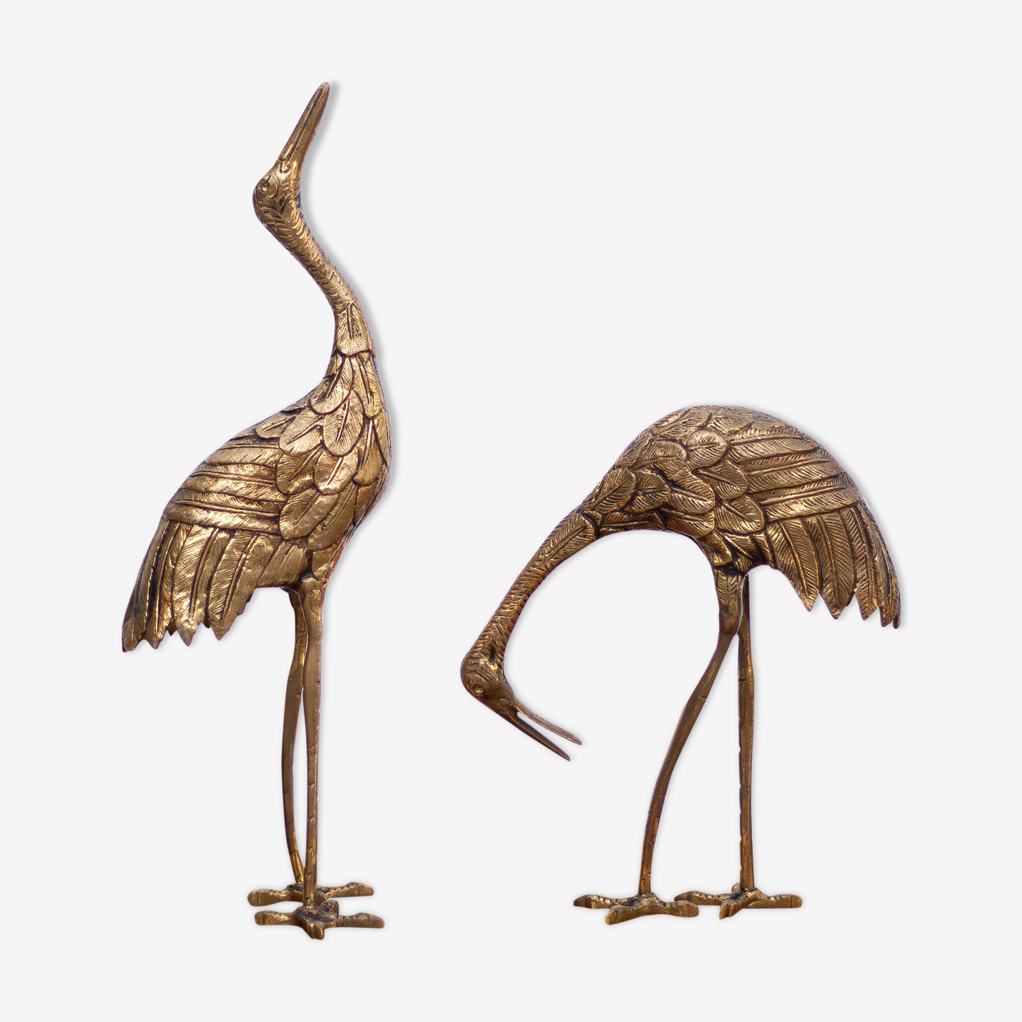 Paire d'oiseaux laiton 1950