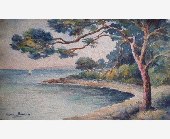 Pierre Classique État De Marron Papier Bon Aquarelle 4039 BodiouPaysage Marin LzSUMqVpG