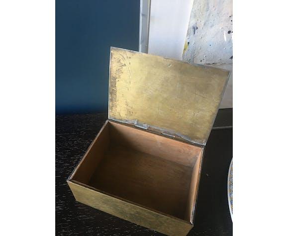 Boîte en bois et laiton, années 50