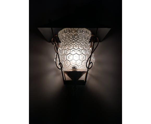 Lanterne en métal doré et en verre - 1950