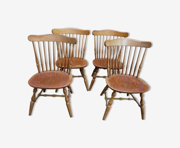 Set de 4 chaises à barreaux vintage