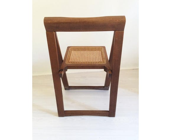 Chaise pliante avec siège en canne viennoise d'Aldo Jacober pour Alberto Bazzani