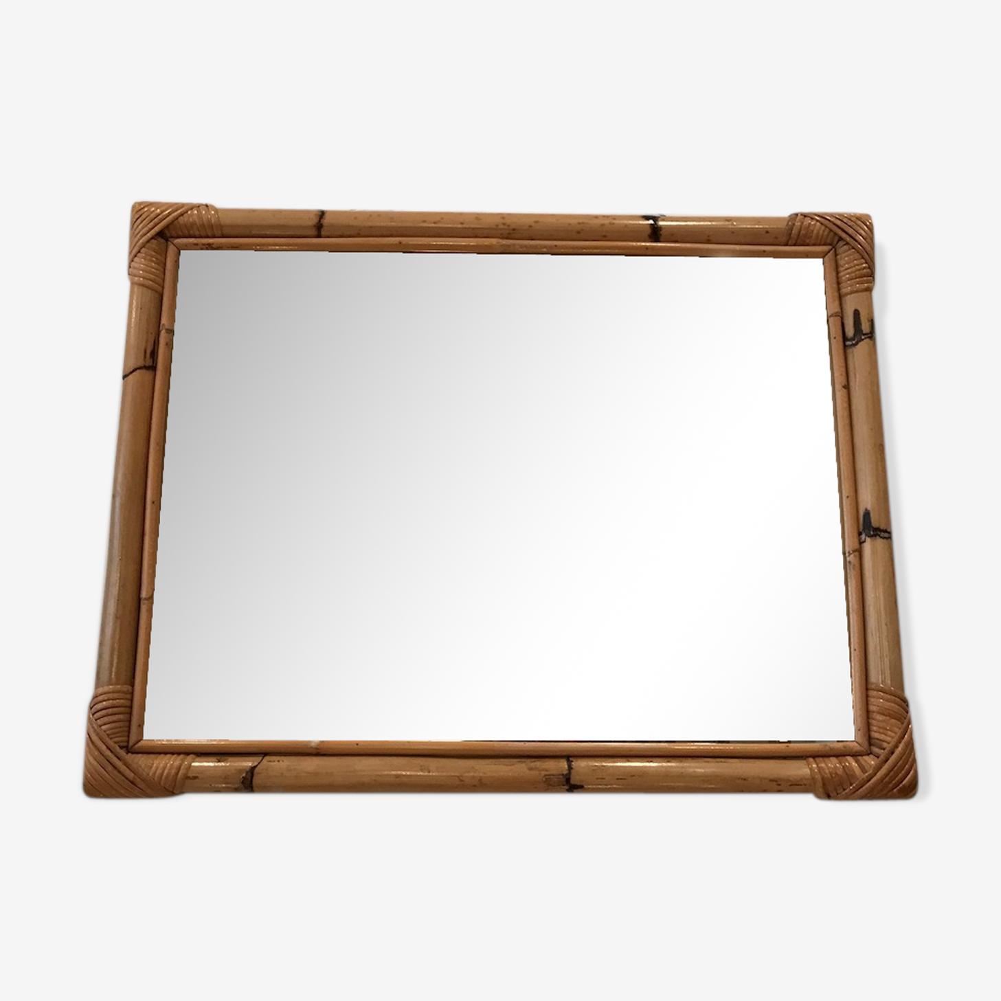Miroir en bambou des années 50 - 53 x 68 cm