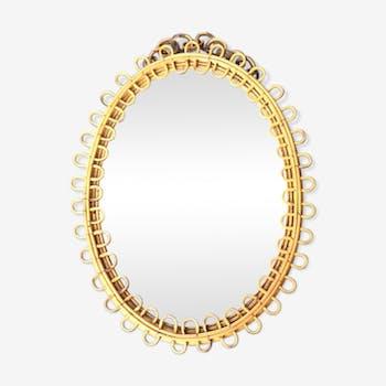 Miroir ovale en rotin 52x40cm