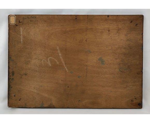 """Huile sur panneau, """" La Côte des Basques """", signée Victor Poncelet, XXème"""
