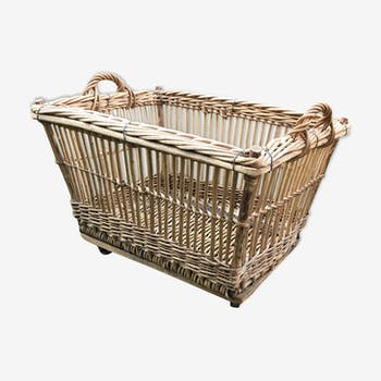 Basket on wheels vintage rattan