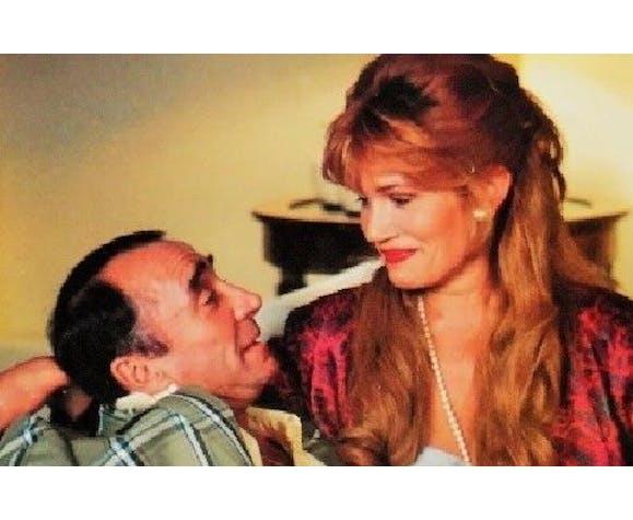 """Affiche d'exploitant cinématographique de """" Claude Brasseur & Caroline Cellier """" de 1986"""