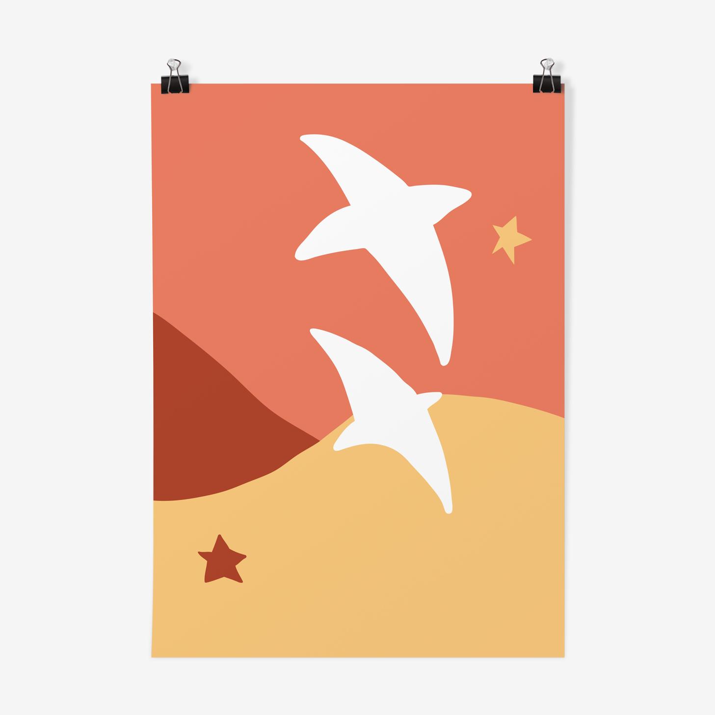 Illustration A4 bird flight 21X 29, 7cm