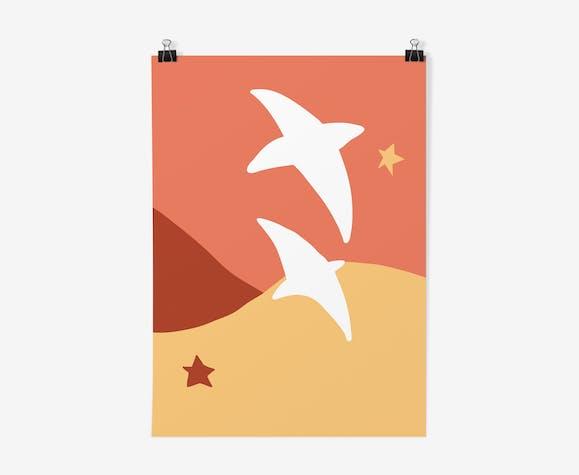 Illustration A4 vol d'oiseaux  21x 29,7cm
