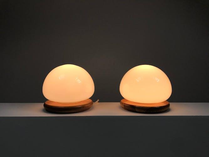Paire de lampes demi-boule des années 1970