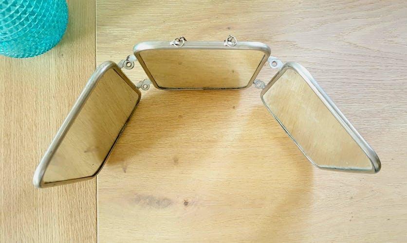 Miroir triptyque de barbier 40/50 43x23cm