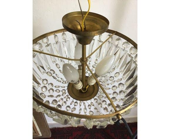 Crystal and brass basket chandelier