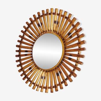 Miroir rotin vintage soleil 32 cm