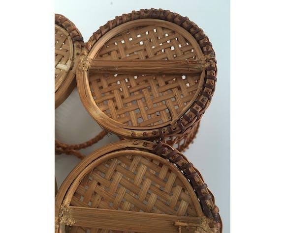 Door glasses in vintage rattan