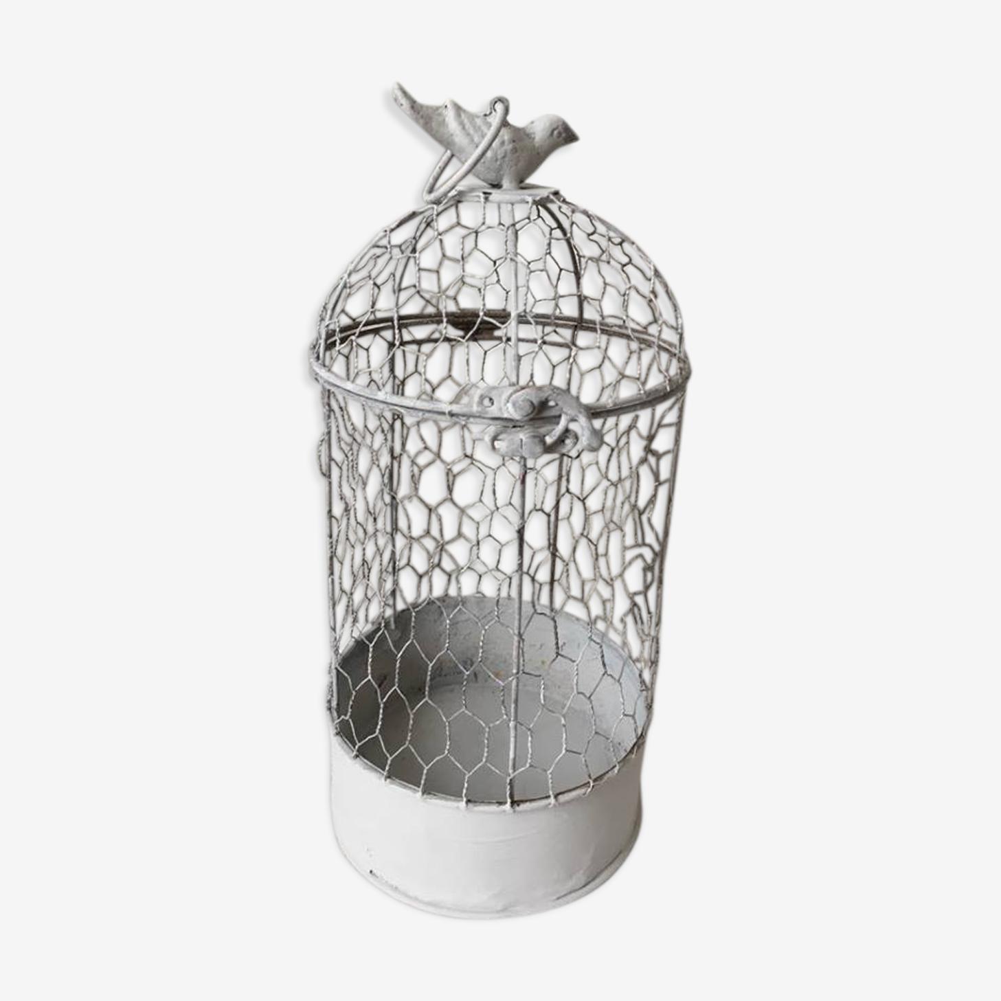 Cage à oiseaux de décoration en fer et grillage