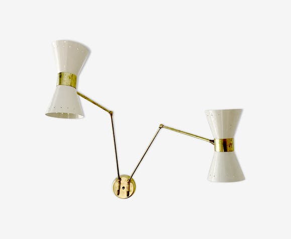 2 Wall Sconce White Articulated Arms Br
