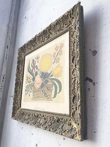 Litographie fleurs encadrée