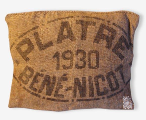 Coussin Toile De Jute Encre Noire Plâtre 1930 Béné Nicot