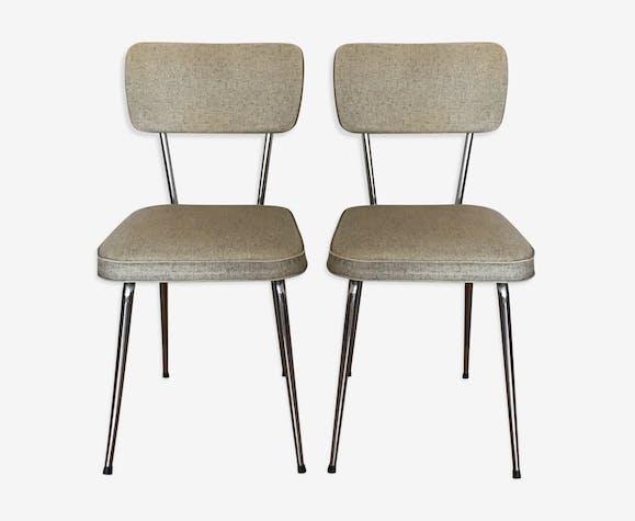 Chaises de cuisine vintage - métal - beige - vintage - GeZY1FI
