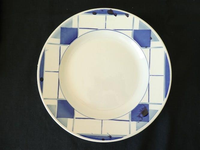 Lot de 2 grands plats en faiences de Digoin Sarreguemines modele efel