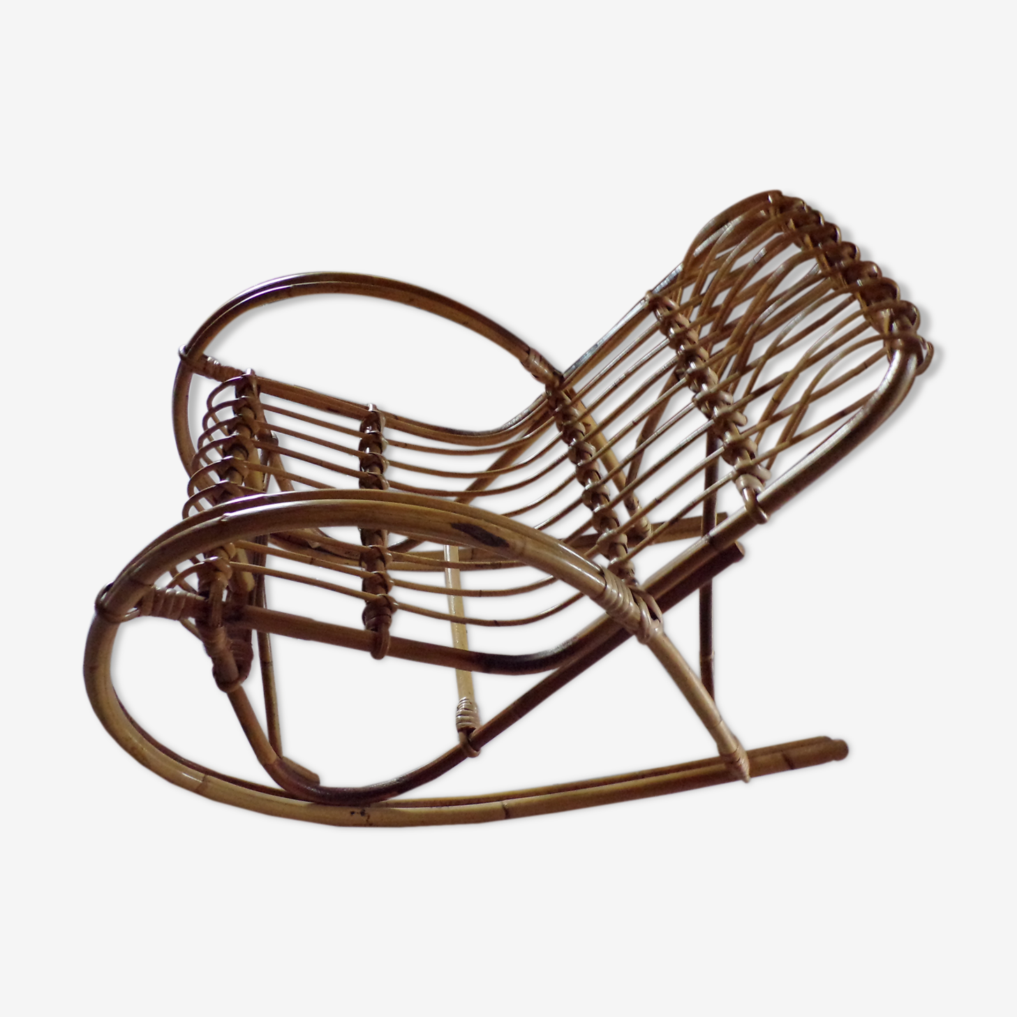 Rocking chair pour enfants en rotin des années 60