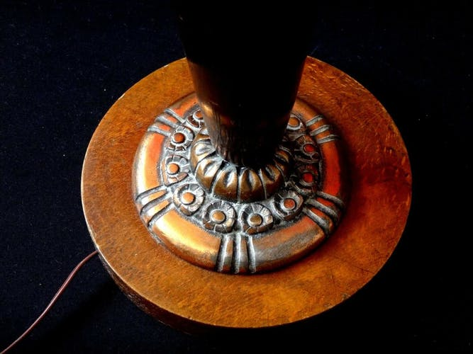 Pied de lampe art déco bois cuivre fleurs stylisées 1925 design 52cm